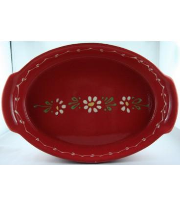 Plat ovale 47 cm - Rouge fleur