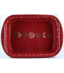 Plat à lasagne 24 cm - Rouge fleur