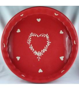 Tourtière 30 cm - Rouge coeur nature
