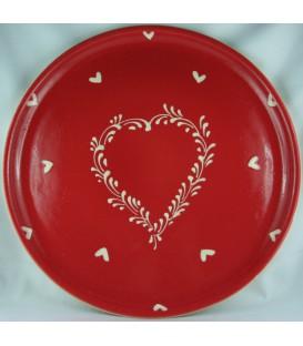 Plat à tarte - Rouge coeur nature