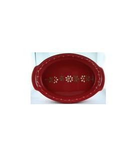 Plat ovale 34 cm - Rouge fleur