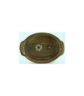 Plat ovale 39 cm - Faux bois fleur