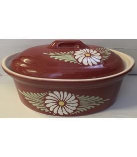 Terrine ovale pour 8 à 10 personnes - Rouge fleur