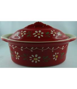 Terrine ovale miniature/verrine - Rouge fleur