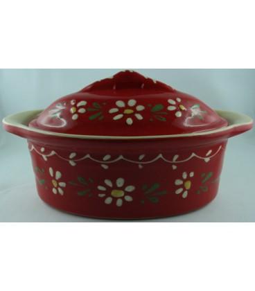 Terrine ovale pour 10 à 12 personnes - Rouge fleur