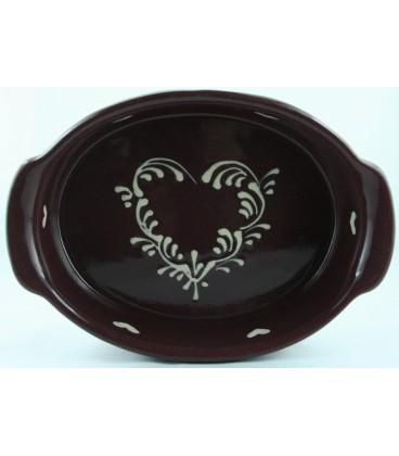 Plat ovale 47 cm - Aubergine coeur nature