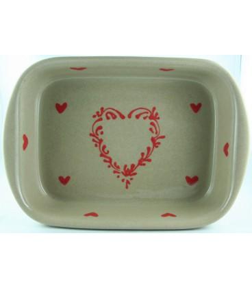 Plat à lasagne 35 cm - Taupe coeur rouge