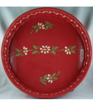 Tourtière 28 cm - Rouge fleur