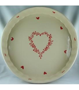 Tourtière 30 cm - Nature coeur rouge