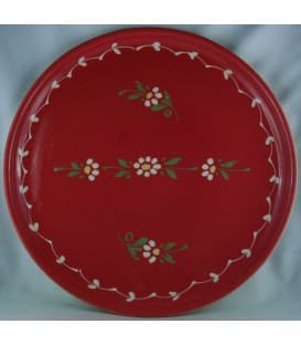 Plat à tarte - Rouge fleur