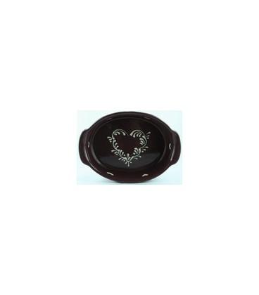 Plat ovale 21 cm - Aubergine coeur nature