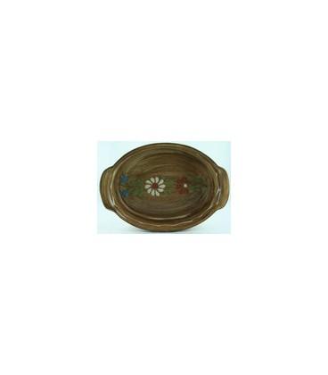 Plat ovale 21 cm - Faux bois fleur