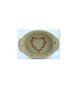 Plat ovale 21 cm - Nature coeur rouge