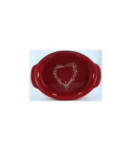 Plat ovale 29 cm - Rouge coeur nature
