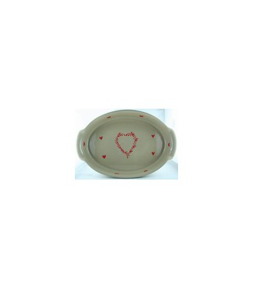 Plat ovale 29 cm - Taupe coeur rouge